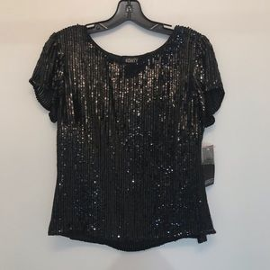 NWT Adrianna Papell Boutique Black Silk Sequin Top